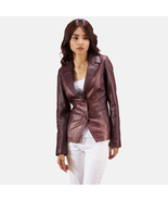 Women Maroon Leather Blazer - $170.00+