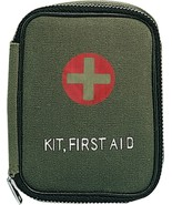 Olive Drab Canvas Military Side Zipper First Aid Kit Pouch - $7.99