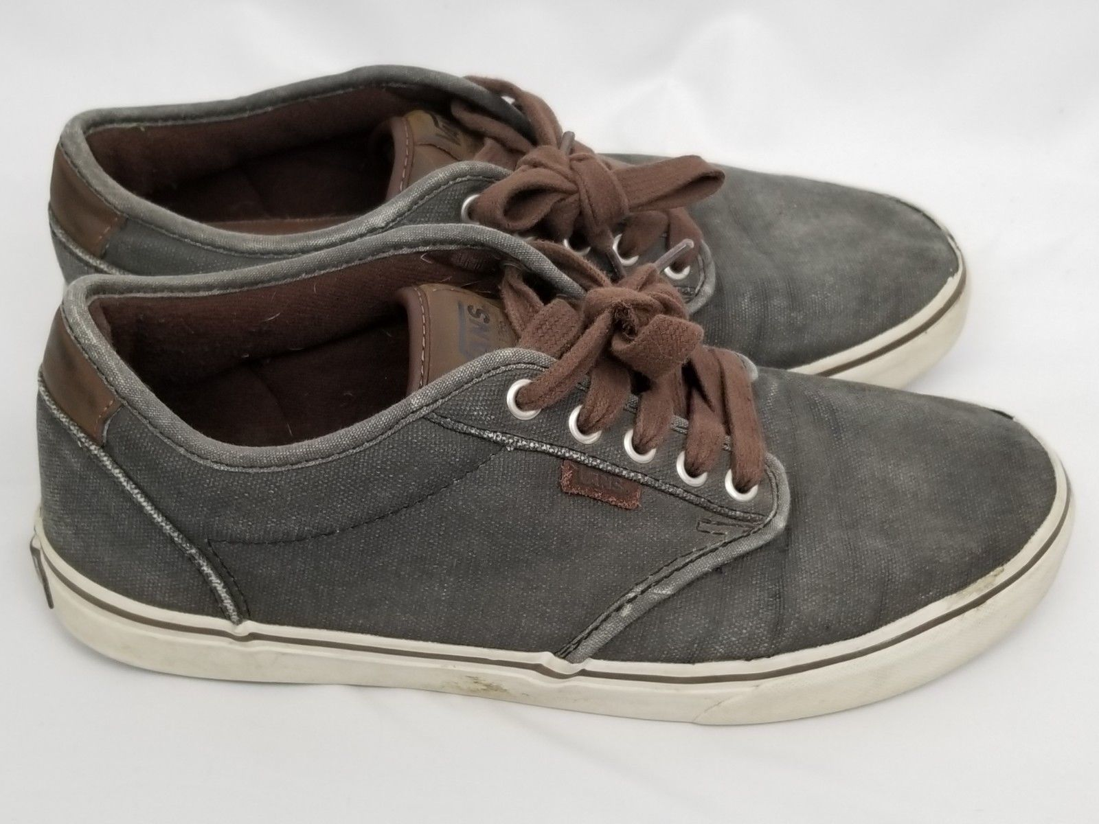 Mens Size 10 Gray Brown Vans Sneakers Shoes Lace Up 721356 image 5