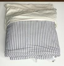 Restoration Hardware Garment-Dyed Ticking Stripe Duvet Full/Queen Mist N... - $169.99