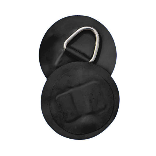 2 X INFLATABLE BOAT STAINLESS STEEL D-RINGS PVC PATCH BLACK