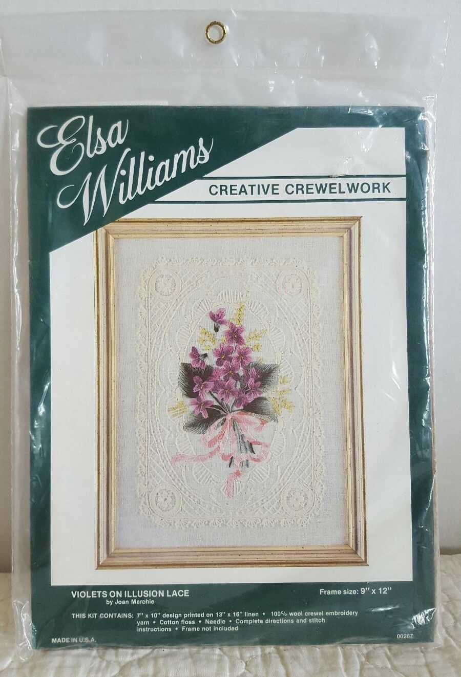 ELSA WILLIAMS Crewel Kit VIOLETS ON ILLUSION LACE by Joan Marchie #00287 New - $19.99