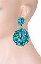 "3.25"" Long Cluster Clip On Earrings, Aqua Teal Rhinestones,Drag Queen, Pageant  - $18.95"