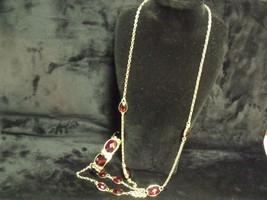Vintage N API Er Ruby Lucite Rhinestones And Goldtone Necklace / Bracelet Set - $24.75