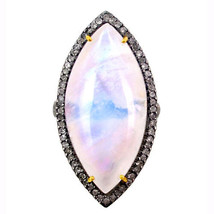 Sterling Silver Pave Diamond Marquise Moonstone Cocktail Ring 14k Gold J... - $636.78