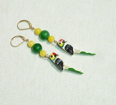 Wooden Parrot and Gemstone Summer Dangle Earrings - Handcrafted Jewelry - £11.46 GBP