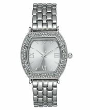 Charter Club Women's Silver-Tone Crystal Tonneau Case Bracelet Watch 28mm NEW