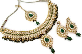 Indian Ethnic GoldPlated Kundan Green Fashion Bridal Jewellery NecklaceSet - $13.70