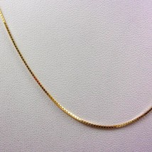 """Solid 18K Yellow Gold 16"""" Box Link Chain Necklace 0.8mm 2.2 grams - $214.00"""