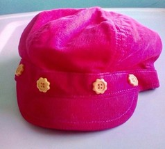 Gymboree Hot Pink Baby Hat Page Boy Corduroy Yellow Floral Buttons 0-12 Months - $4.95