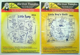 2 Aunt Martha's Iron-On Transfers Little Tramp #3834 & Little Boy's Quil... - $7.55