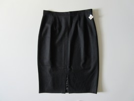 NWT Talbots Black Textured Ribbed Stretch Wool Front Vent Midi Pencil Sk... - $28.99