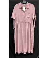 NWT Tea N Rose Sz Medium Lt Pink Tencel Empire Waist Tunic Dress W/Pocke... - $51.30