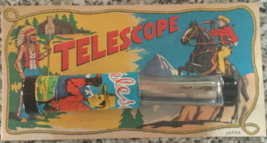 Metal and Glass Tin Lithographed Japanese Toy Cowboy Telescope on Display Card - $20.00