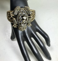 BRONZE FINISH HINGE CLASP CUFF FROG BRACELET CHICO'S WITH CRYSTALS - $15.84