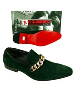 Men's New Fiesso Green Suede Slip on Shoes with Stylish Gold Chain Studs... - $129.99