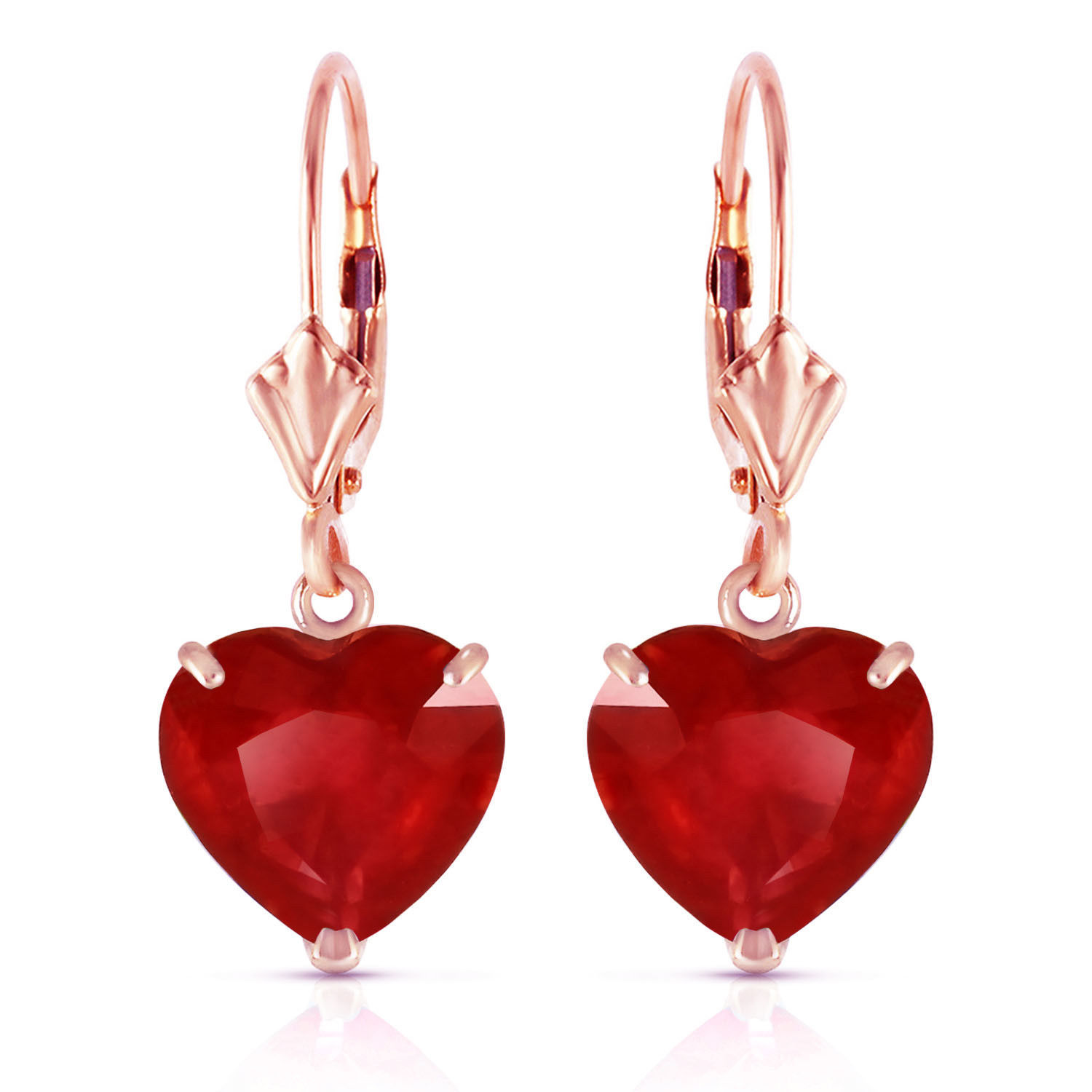 Primary image for 14K Solid Rose Gold Leverback Earrings Natural 10mm Heart rubyes