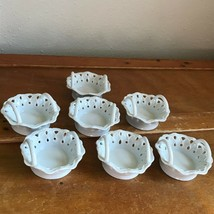 Estate Lot of 7 Mikasa RUFFLES Marked Small White Porcelain Baskets for Wedding - $19.39