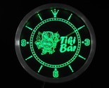 Tiki Bar Mask Beer Neon Light Signs LED Wall Clock Display Glowing - £46.92 GBP