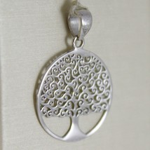 18K WHITE GOLD TREE OF LIFE ROUND FLAT PENDANT CHARM, 0.9 INCHES MADE IN ITALY  image 2