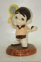 Atlantic Mold Ceramic Tennis Player Trophy Boy Mighty Moe Vintage Figurine - $36.58