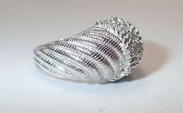 Estate Judith Ripka Sterling Silver Diamonique Rope Twist Dome Band Ring... - $56.09