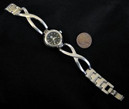 Maurices Silver Tone Wrist Half Bangle Watch Black Face New Battery - $13.87