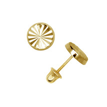 Round Diamond Cut Child Stud Earrings Screw Back 14K Solid Yellow Gold - $54.27