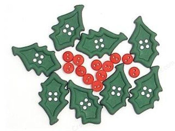 Christmas Craft Supply Chunky Shapes Holly Button Assortment #4616
