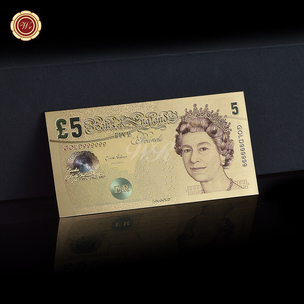 WR Set of Color Gold UK Banknotes 5 Pound - 50 Pounds British Polymer Note Gifts image 10