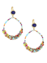 Kenneth Jay Lane Multi color Braided Seed Bead Hoop Circle Oval Drop Ear... - $84.15