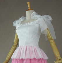 Women Tutu Top Sleeveless Pink White Party Top Tulle Topper Princess Tutu Outfit image 7