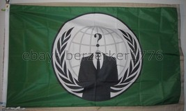 Anonymous Hacker Corporate 3'x5' Green Flag Banner Occupy - USA seller shipper - $20.00