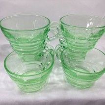 Anchor Hocking Block Optic Circles Vaseline Glass Handled Cups Lot Of 6 - $23.76
