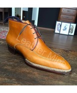 Men's Handmade Tan Leather Chukka Ankle High Dress Boots For Men - $179.99+