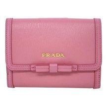 Prada Vitello Move Leather Geranio Pink Coin Purse Bi-fold Bow Wallet - $500.00