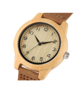 Minimalist Arabic Numerals Bamboo Women Watches Wooden Genuine Leather Band - $21.50