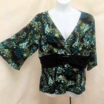 Style & Co 2X Top Black Green Floral Empire Waist Buckle Plus Size Shirt - $19.59
