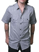 Dissizit! LA Liberty Black & White Gingham Short Sleeve Button Up Down Shirt NWT