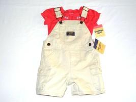 NWT Oshkosh Short Overalls Shortall + Pink Bodysuit Flowers Sz 12M Outfi... - $16.14
