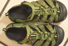 Keen Sandals SZ 5 green canvas leather rubber sole lace up and strap Arroyo - $19.79
