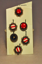 BUTTON COVERS FANCY 5 COVERS + REPLACEMENT ON CARD - $9.20