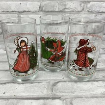 Coca Cola Holly Hobbie Christmas Drinking Glasses Set of 3 Different Des... - $14.50
