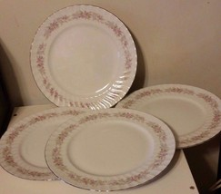 "Dansico Teahouse Rose Set Of 4 Fine China 10 3/8"" Dinner Plates Silver Trim - $23.38"