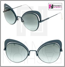 FENDI EYESHINE FF0247S Matte Green Aqua White Metal Sunglasses Round Run... - $163.35