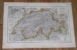 1910 ORIGINAL ANTIQUE MAP OF SWITZERLAND - $7.92