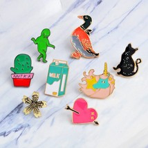 Cartoon Green man Cactus black cat duck horse milk heart Brooch Pins DIY Button  - $7.66