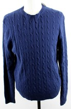 NWT J.Crew Spencer Cable-Knit Luxury Wool Blend  Sweater MENS LARGE Blue - $44.99