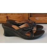 Born Black Leather MULES Woman's SHOES 8 / 39 Wedge Heel Minty Sandals LOOK - $17.81