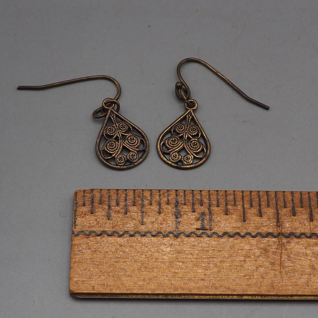 Vintage Brasstone Dangle Earrings 1980's 1990's